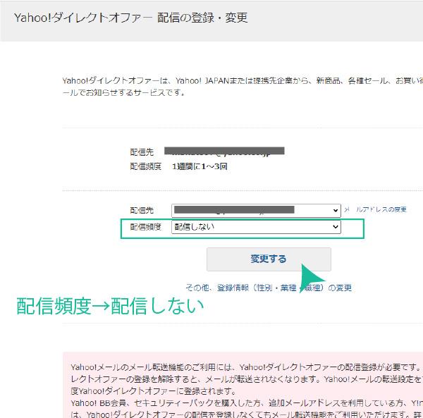 Yahoo!ダイレクトオファー 配信の登録・変更画面 パソコン版
